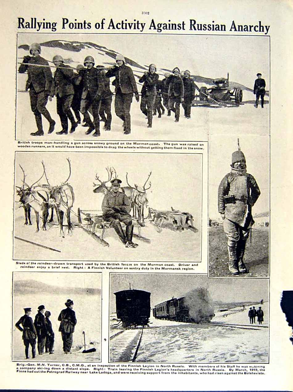 [Print 1919 World War William Ironside British Soldiers Murman 168Re295 Old Original]