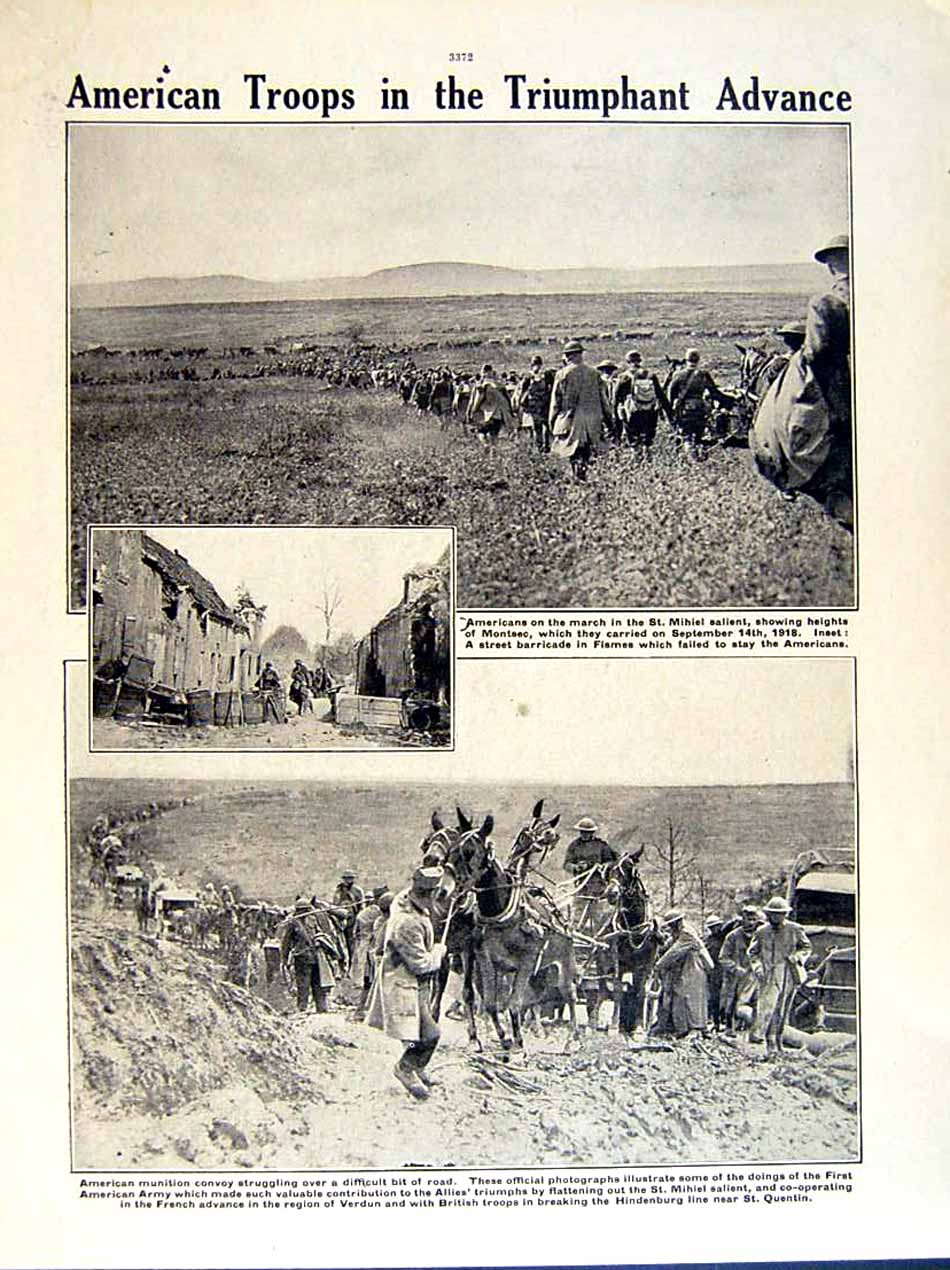 [Print 1919 World War American Soldiers Mihiel Moselle Quentin 225Re295 Old Original]
