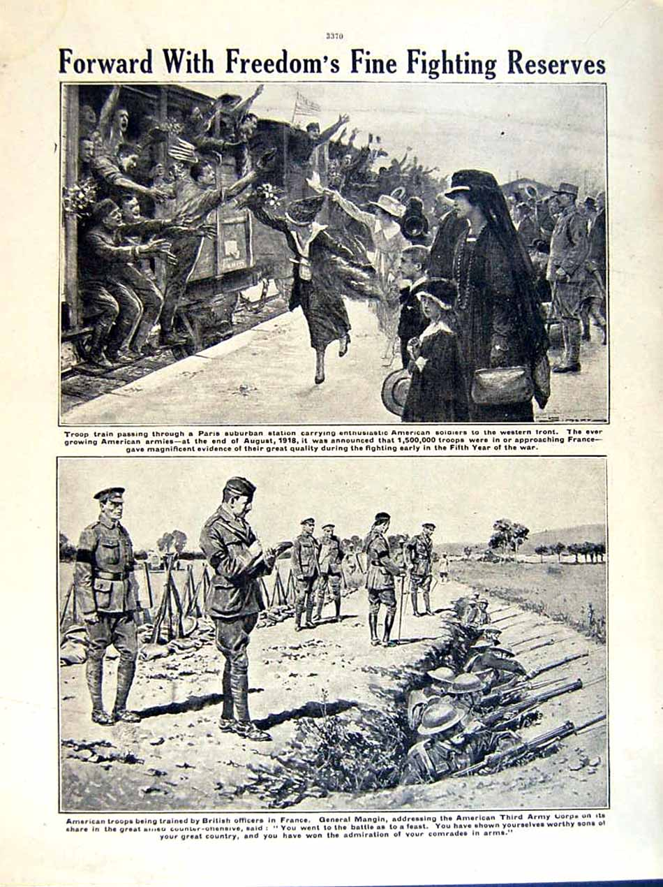 [Print 1919 World War American Artillery Soldiers Train France 226Re295 Old Original]