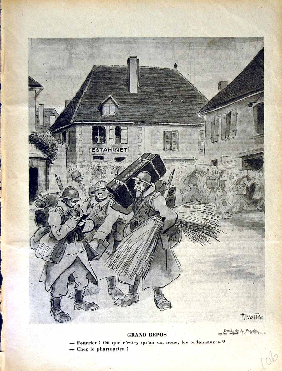 [Print Le Rire French Humor Magazine War Soldiers Army Street 106E350 Old Original]
