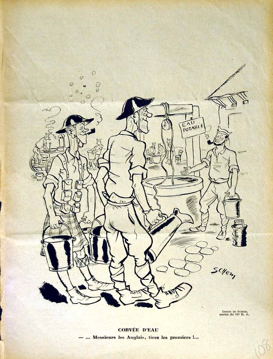 [Print Le Rire French Humor Magazine War Soldiers Water Well 108E350 Old Original]