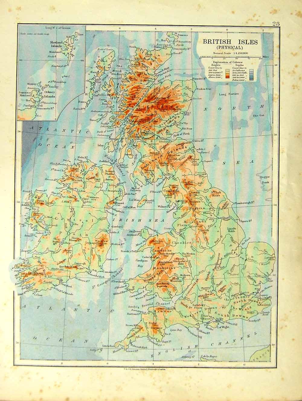 Print Map British Isles Physical Spain Portugal Balearic - Portugal map physical