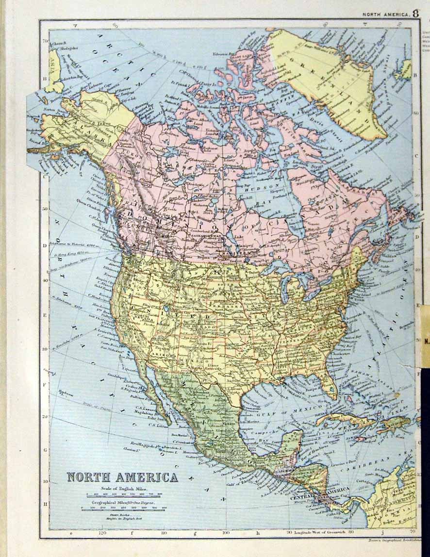 North America Latitude And Longitude Map Maps Of North America - Canada north america map