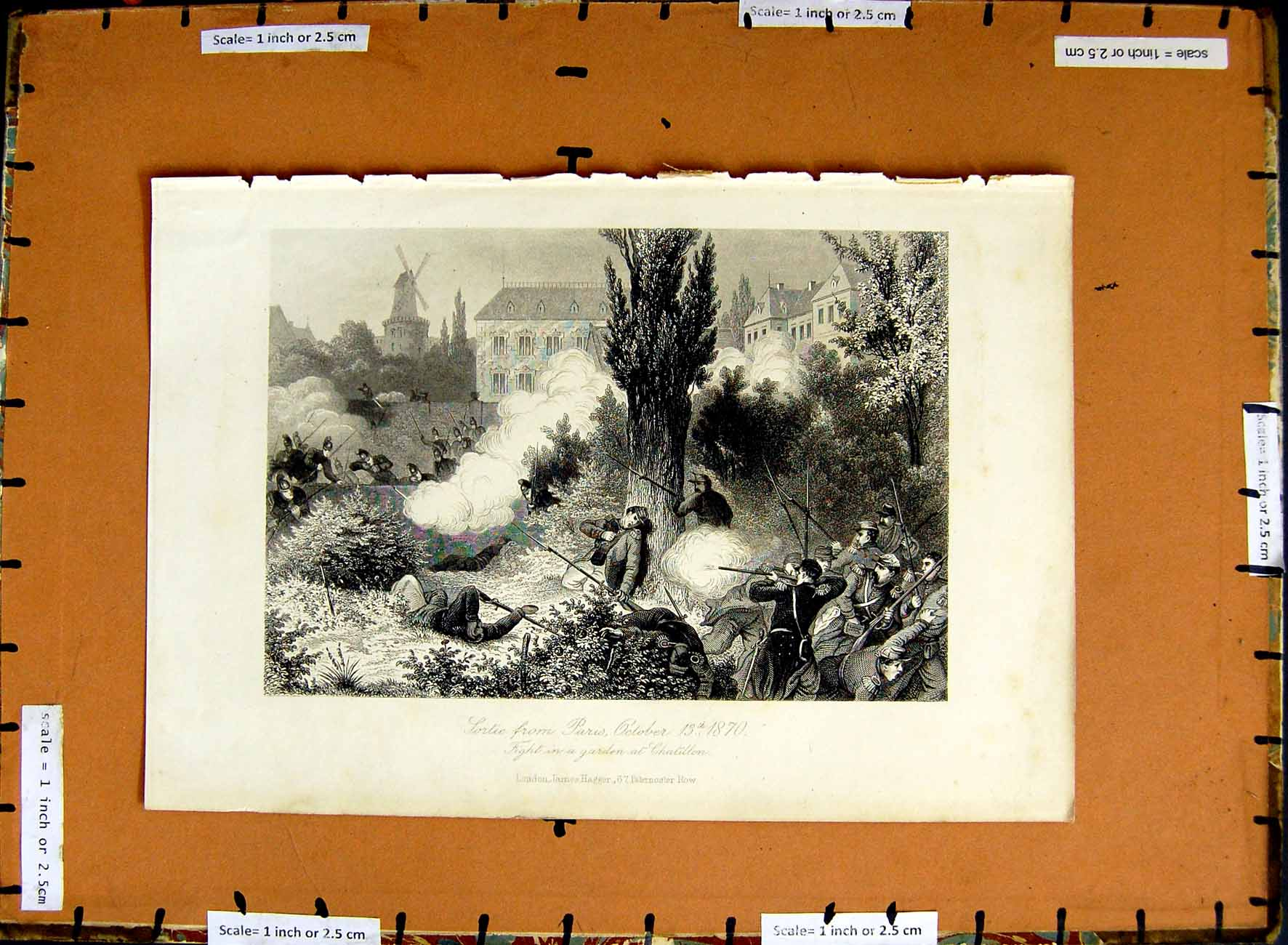 [Print C1800 Sortie Paris Fight Garden Chatillon Battle War 189E375 Old Original]