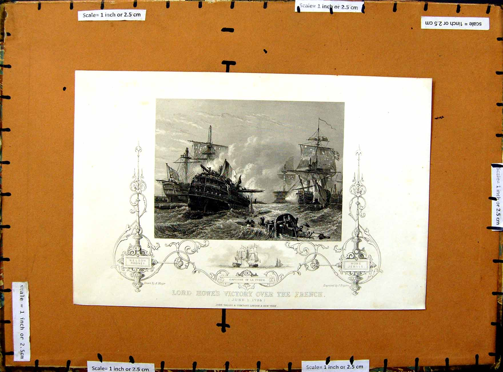 [Print 1794 Lord Howes Victory French War Ships La Pique 286E375 Old Original]