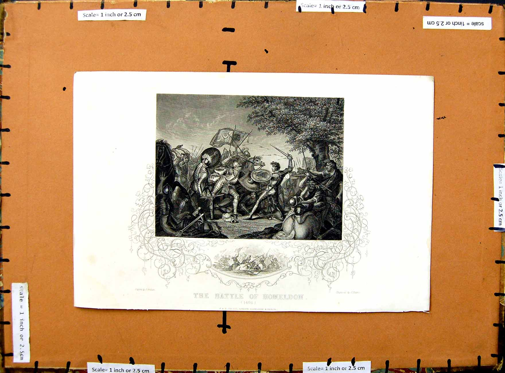 [Print C1800 Scene Battle Homeldon 1402 Soldiers Armour War 299E375 Old Original]