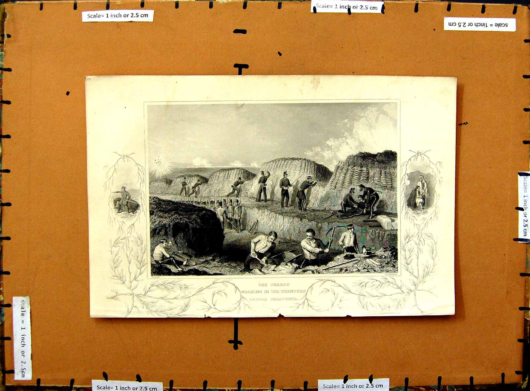 [Print C1800 Scene Guards Working Trenches Sebastopol War Army 327E375 Old Original]