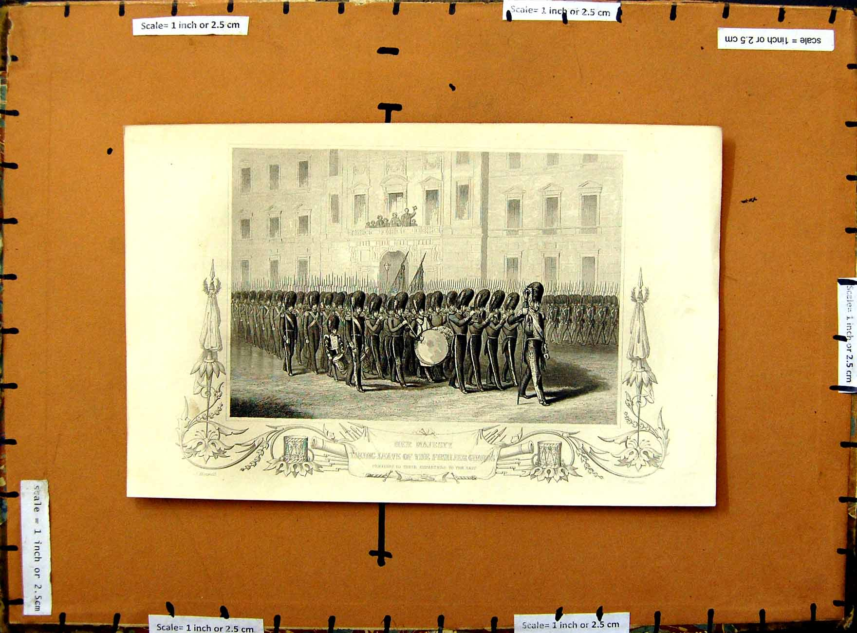 [Print C1800 Queen England Fusilier Guards War Soldiers 329E375 Old Original]