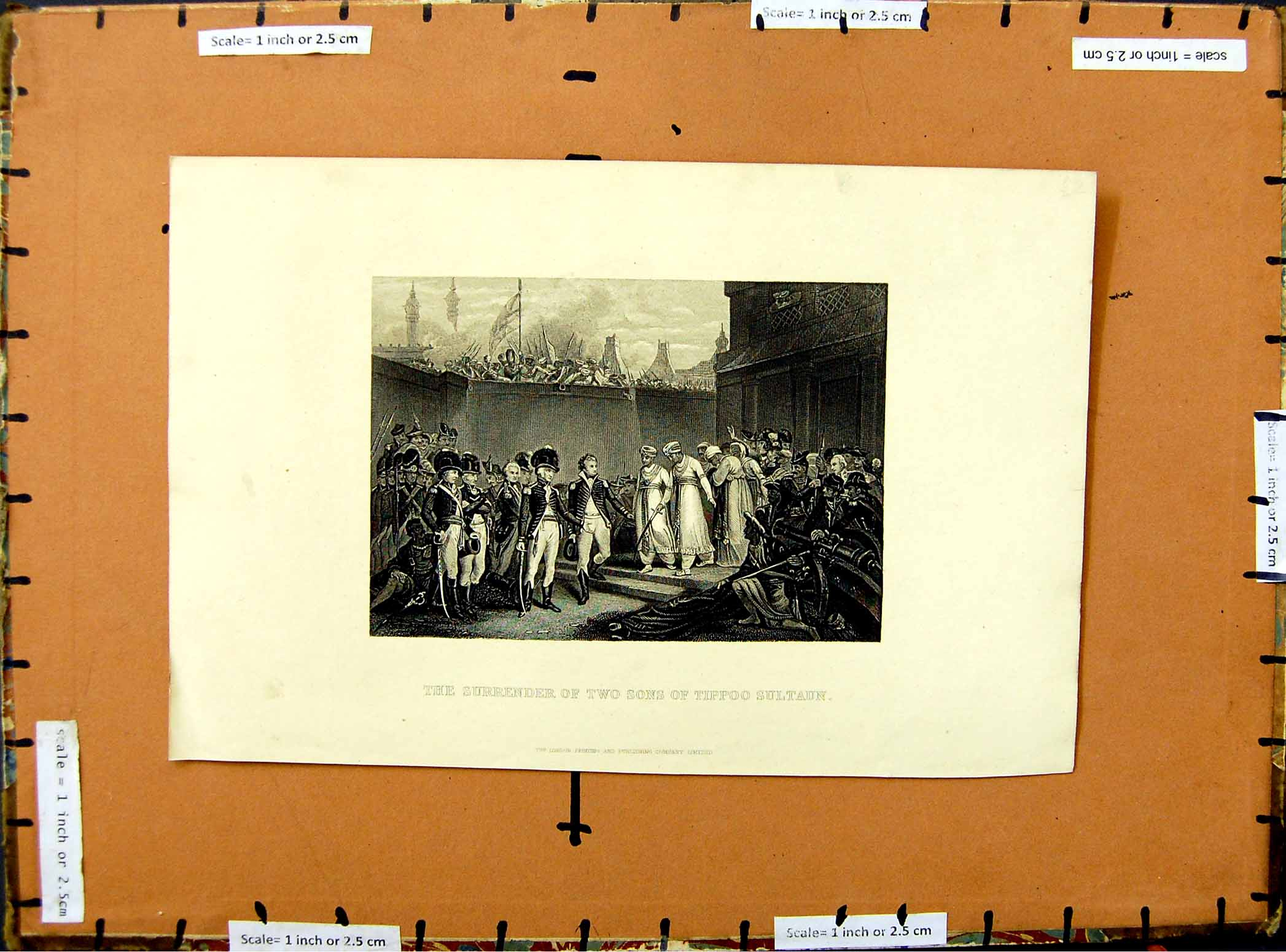 [Print C1800 Surrender Two Sons Tippoo Sultaun Soldiers War 466E376 Old Original]