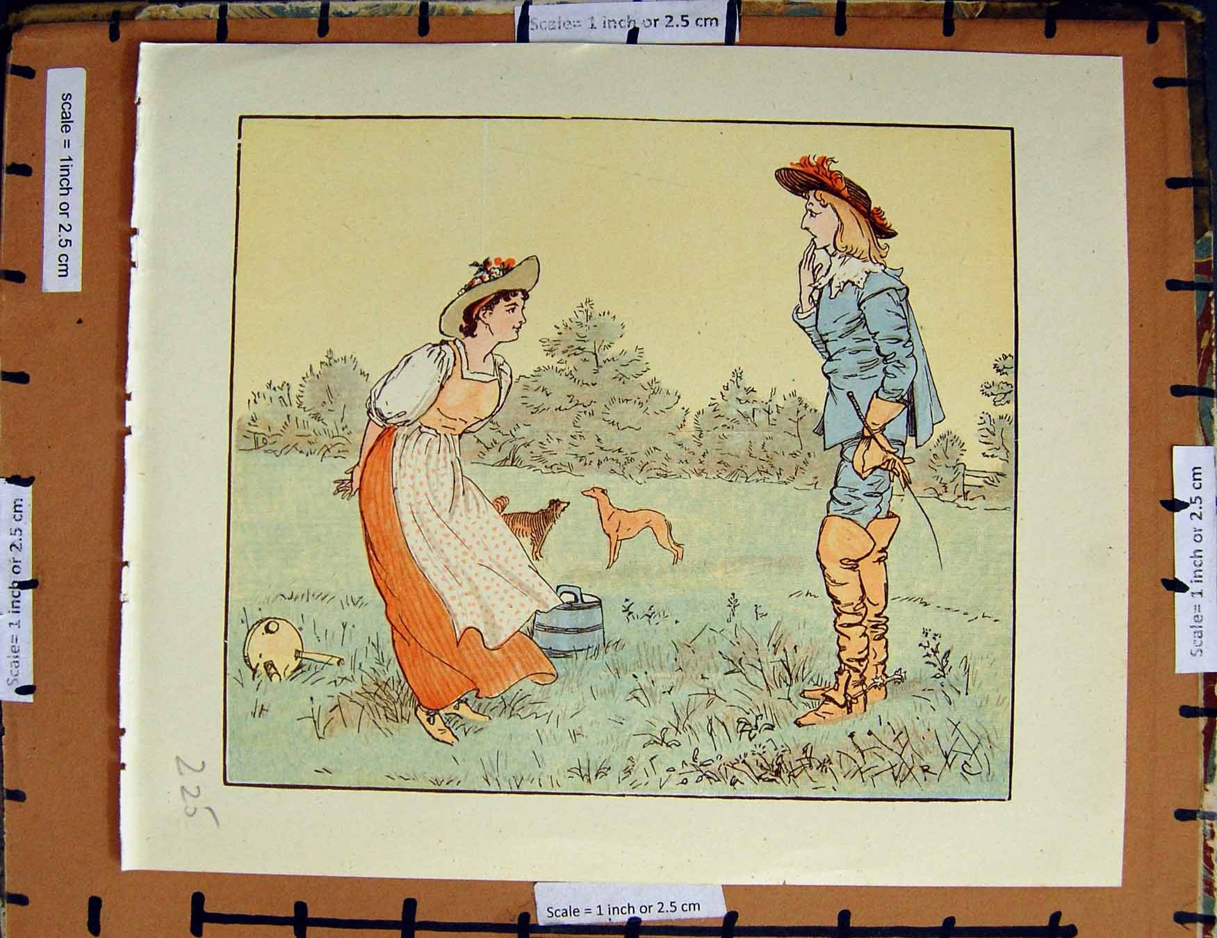 [Print C1950 Nursery Rhyme Man Lady Romance Dogs Country 225E378 Old Original]