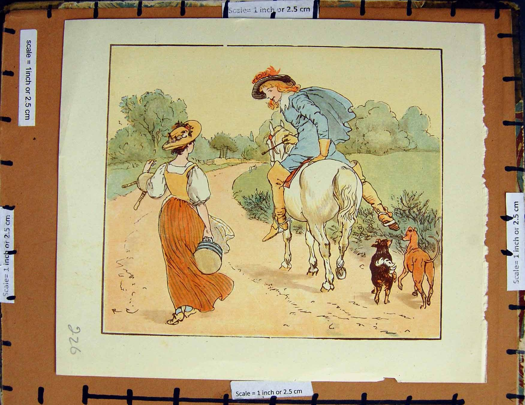 [Print C1950 Nursery Rhyme Man Horse Lady Dogs Colour Plate 226E378 Old Original]