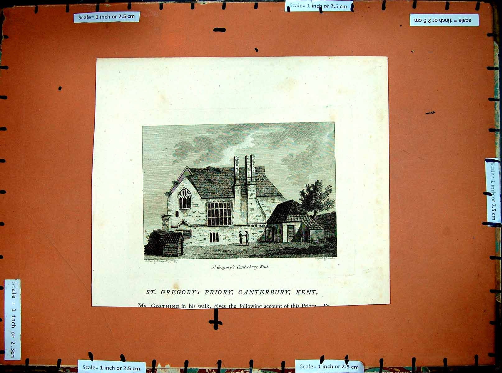 Print C1790-C1890 Gregory'S Priory Canterbury Kent England 204E379 Old Original