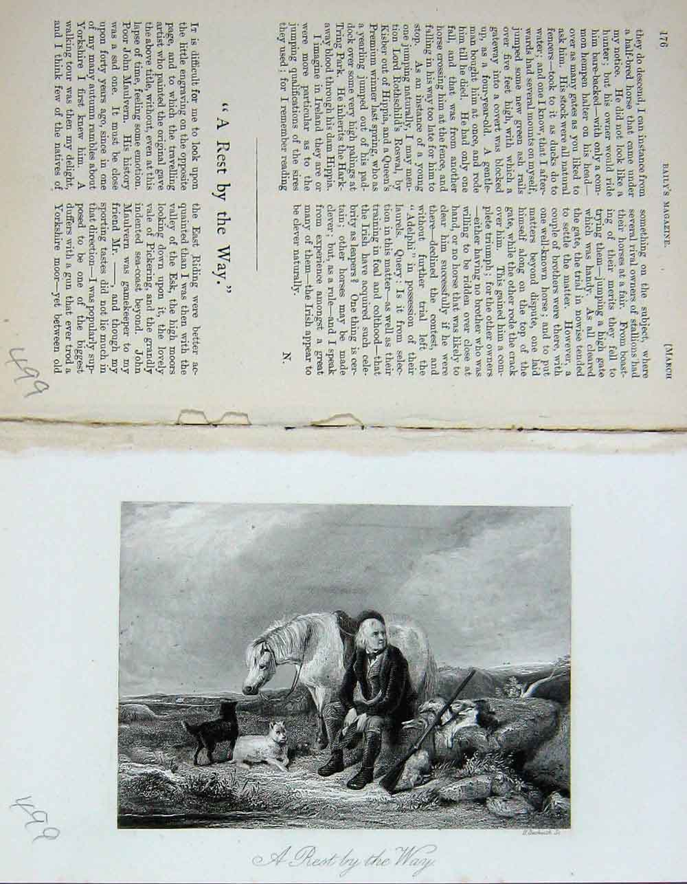 [Print Man Hunting Horse Dogs Country Baily'S 499F109 Old Original]