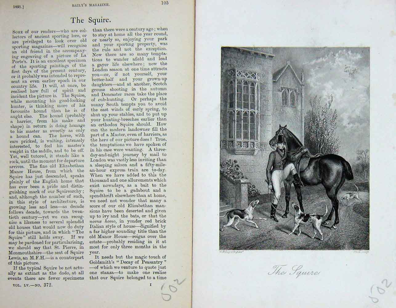 [Print Portrait 1891 Hunting Squire Horse Hound Dogs 502F109 Old Original]