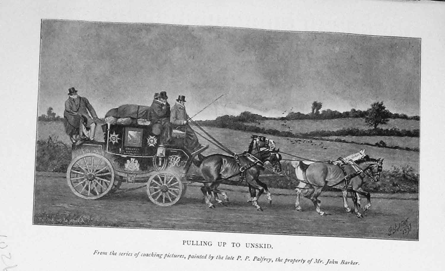 Print 1902 Horses Carriage Chester London Royal Mail Coach 1026F117 Old Original