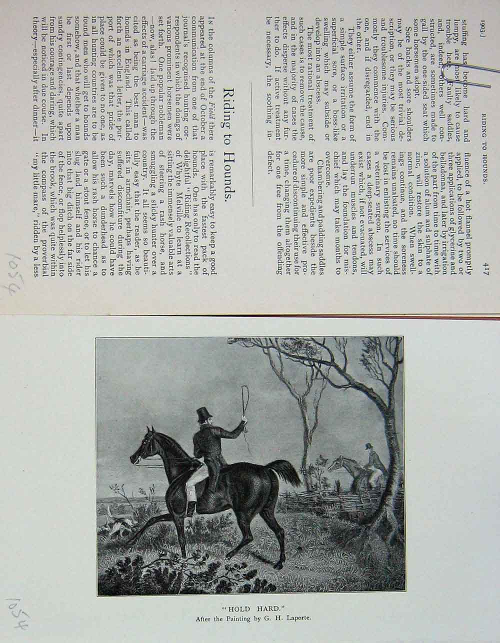 [Print 1903 Fox Hunting Hounds Dogs Horses Sport Country 1054F117 Old Original]