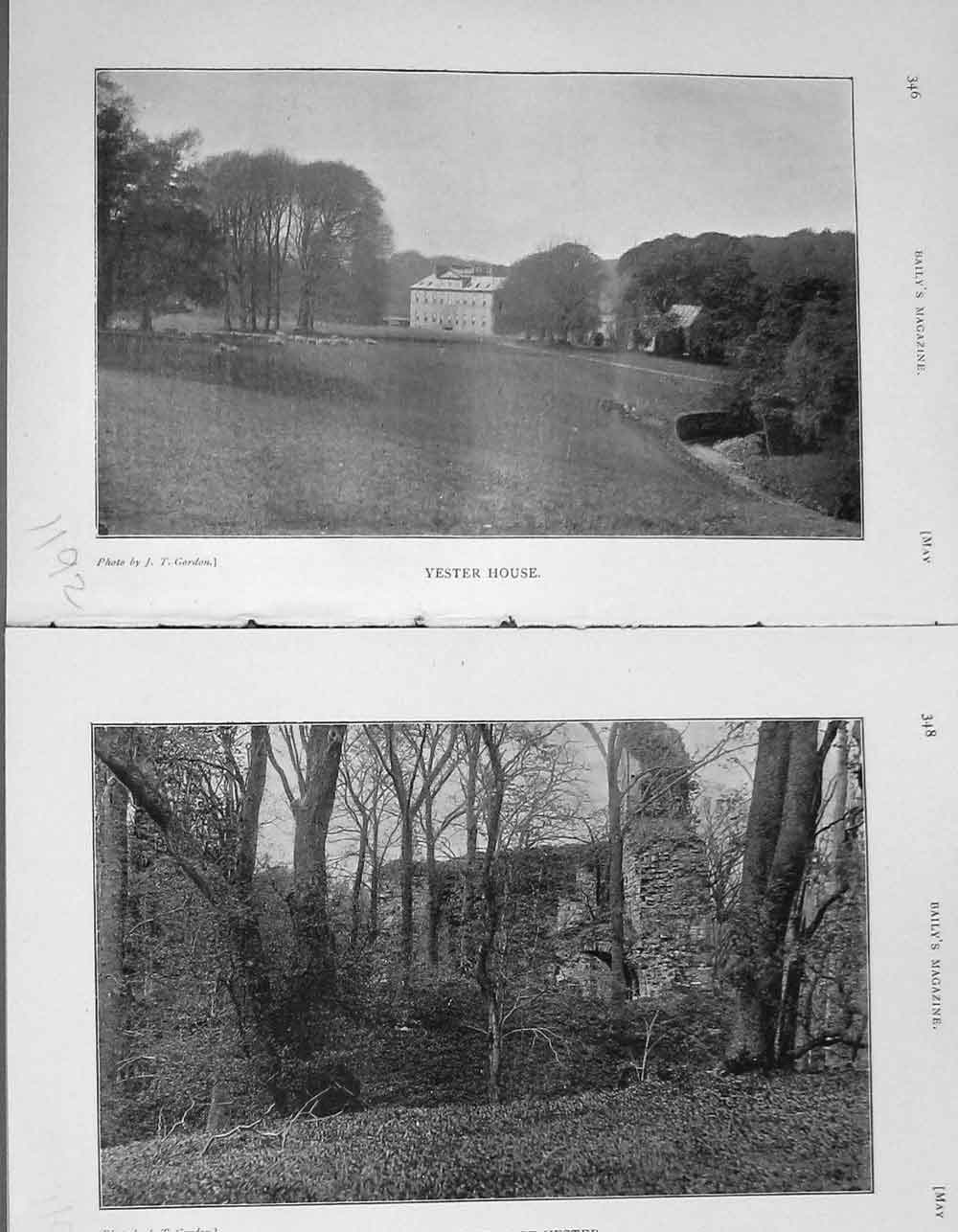 [Print 1905 Photograph Yester House Castle Hounds Dogs Hunting 1192F119 Old Original]