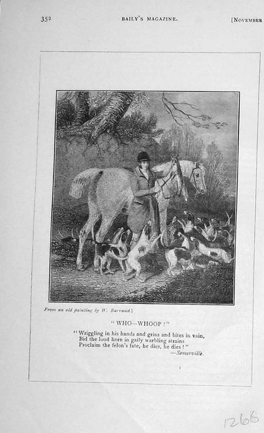 [Print 1906 Hunting Man Horses Hounds Dogs Sport 1266F120 Old Original]