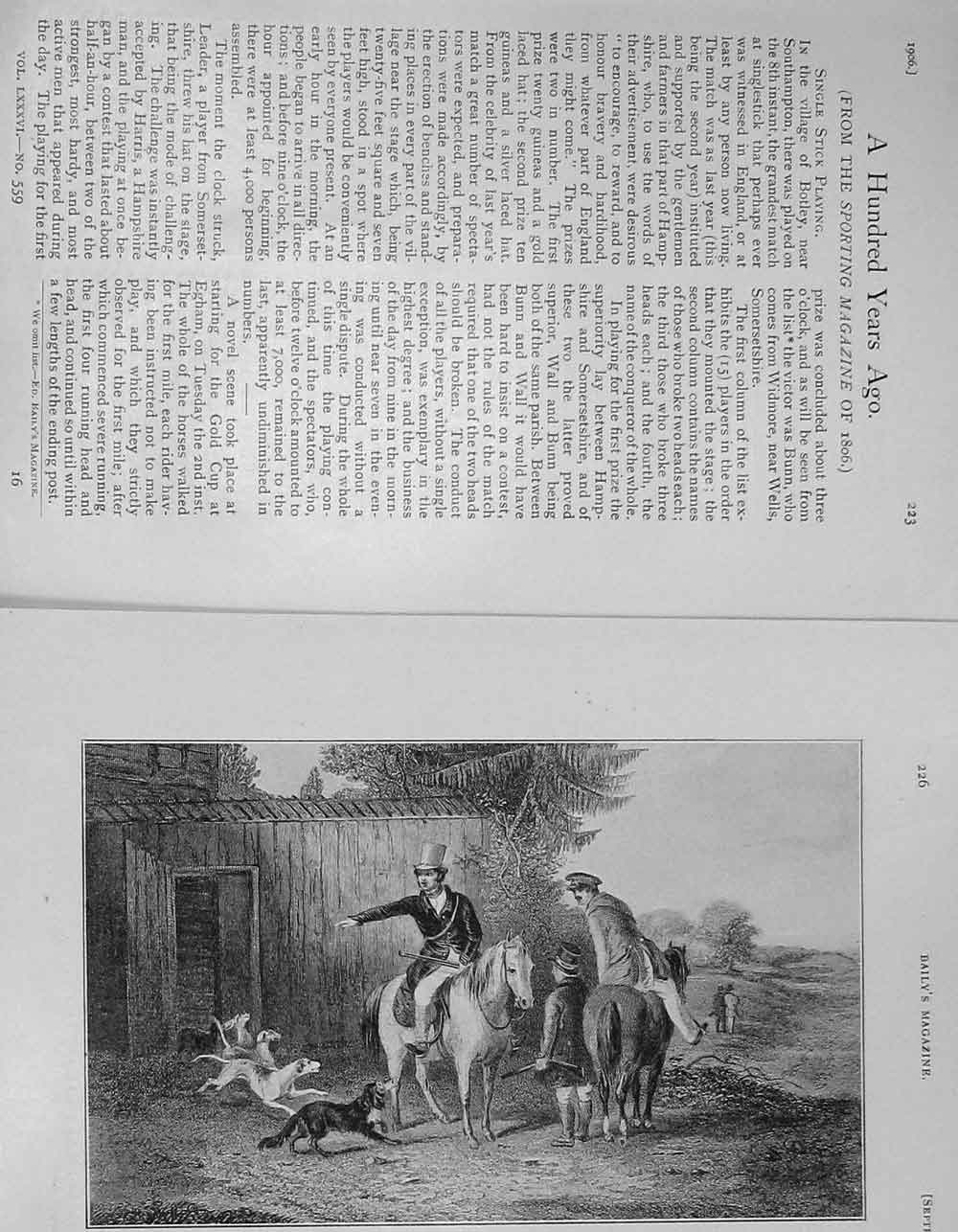 [Print 1906 Hunting Sport Dogs Men Horses 1278F120 Old Original]