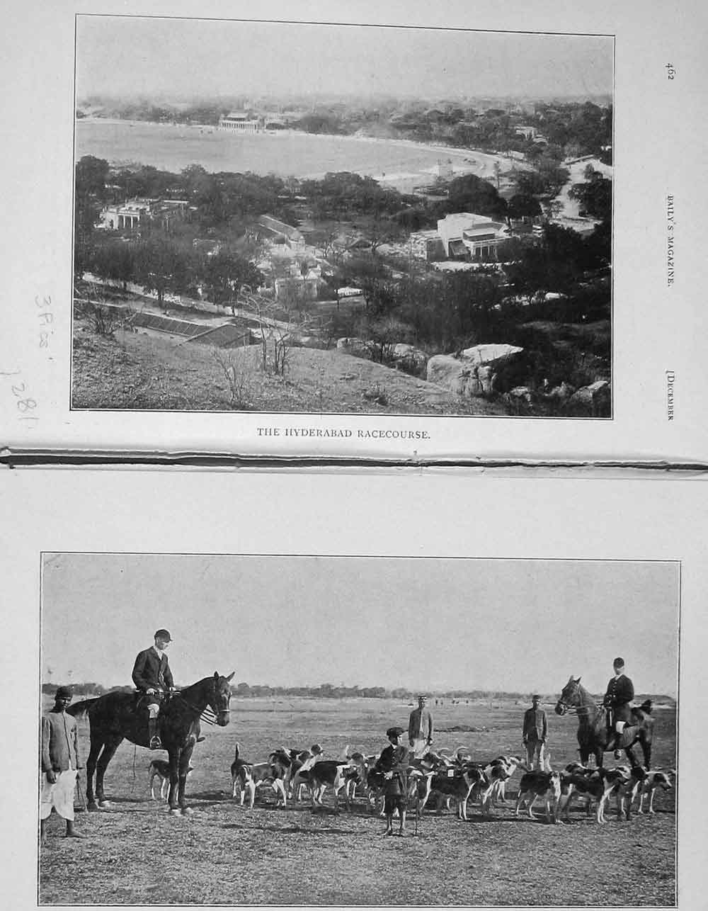 [Print 1906 Hyderabad Horse Racecourse Poonah Hounds Dogs 1281F120 Old Original]
