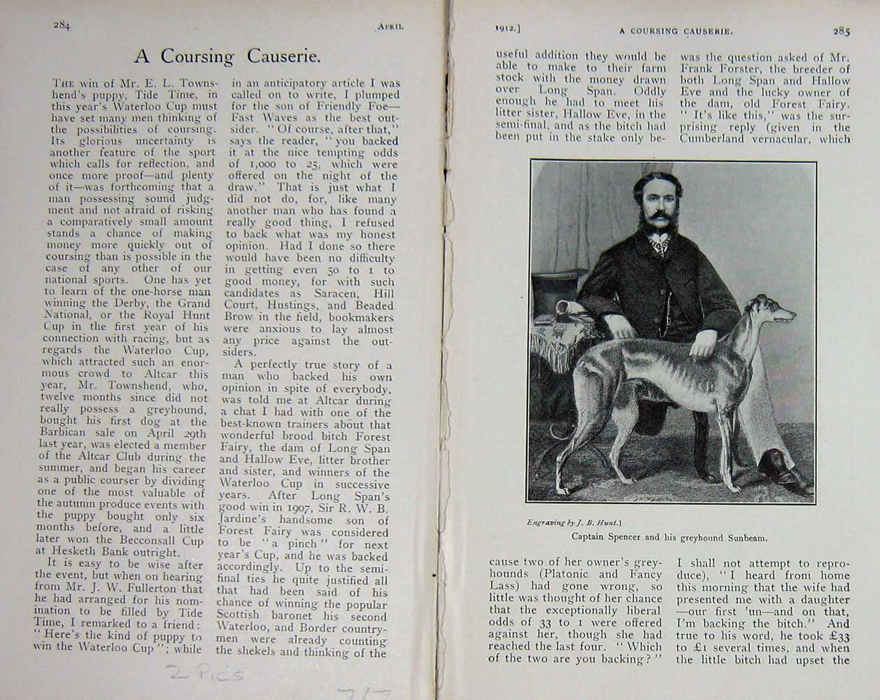 [Print 1912 Captain Spencer Greyhound Dog Sunbeam Pepin Cob 717F124 Old Original]