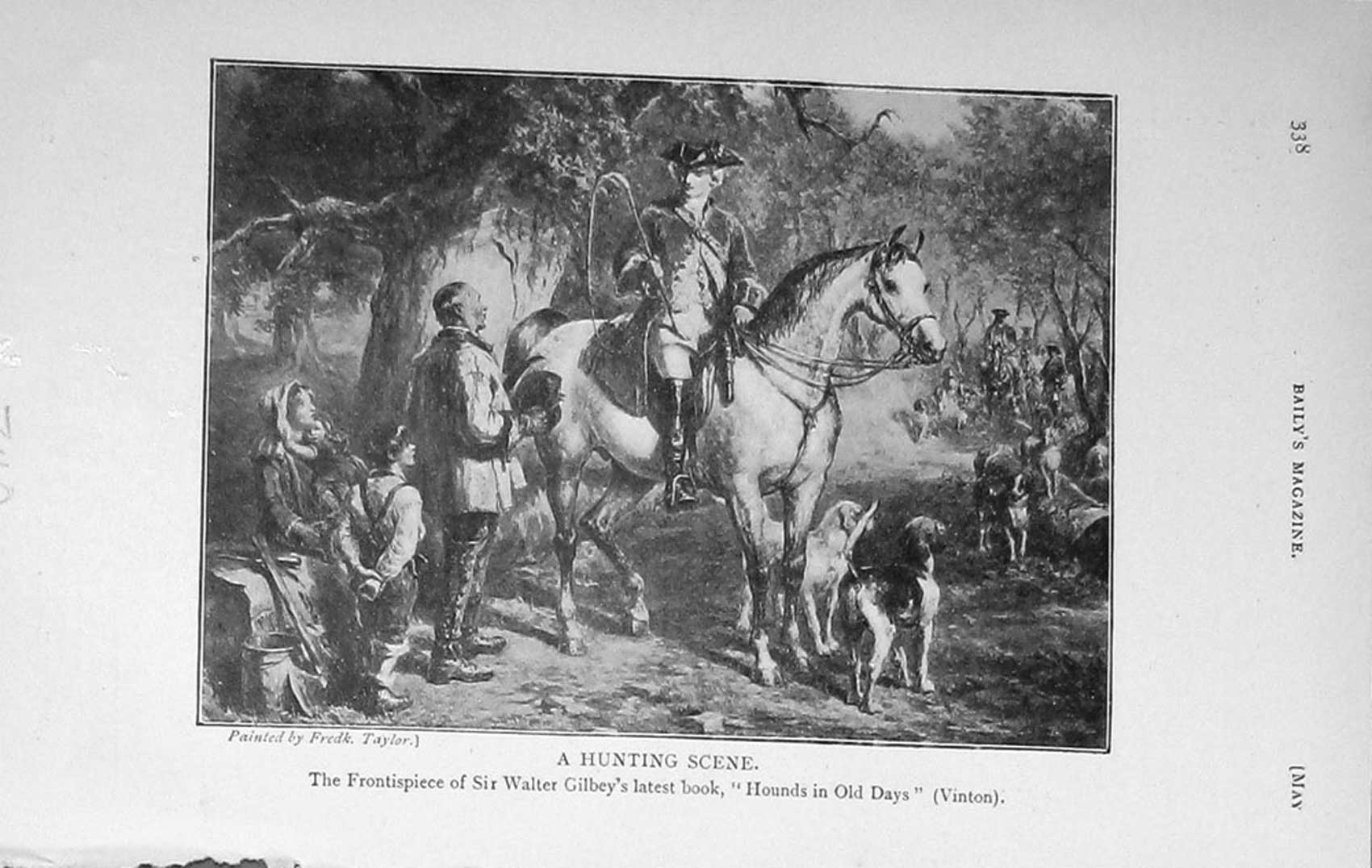 [Print 1913 Hunting Scene Horses Hounds Dogs 740F124 Old Original]