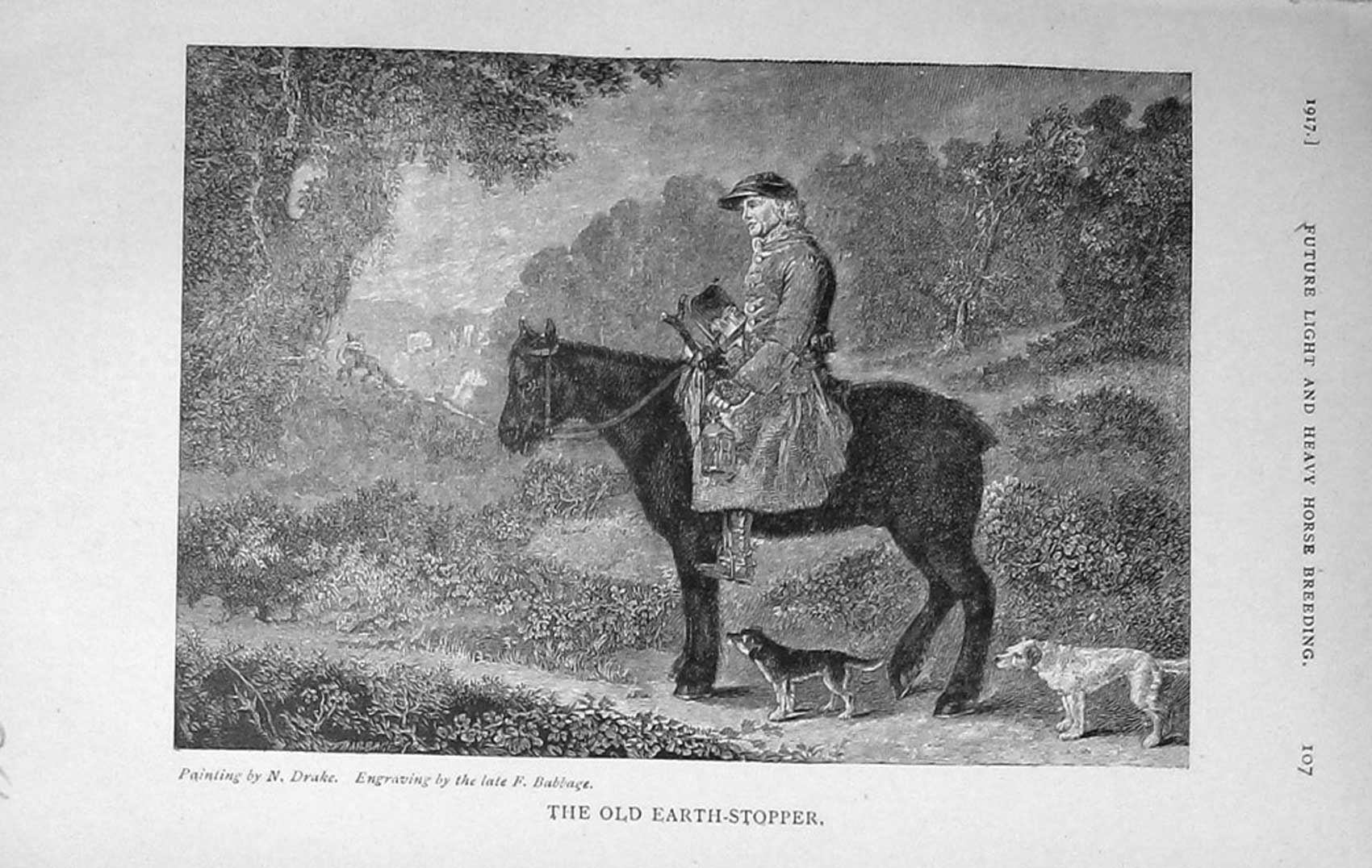 [Print 1917 Earth Stopper Man Horse Dogs 956F125 Old Original]