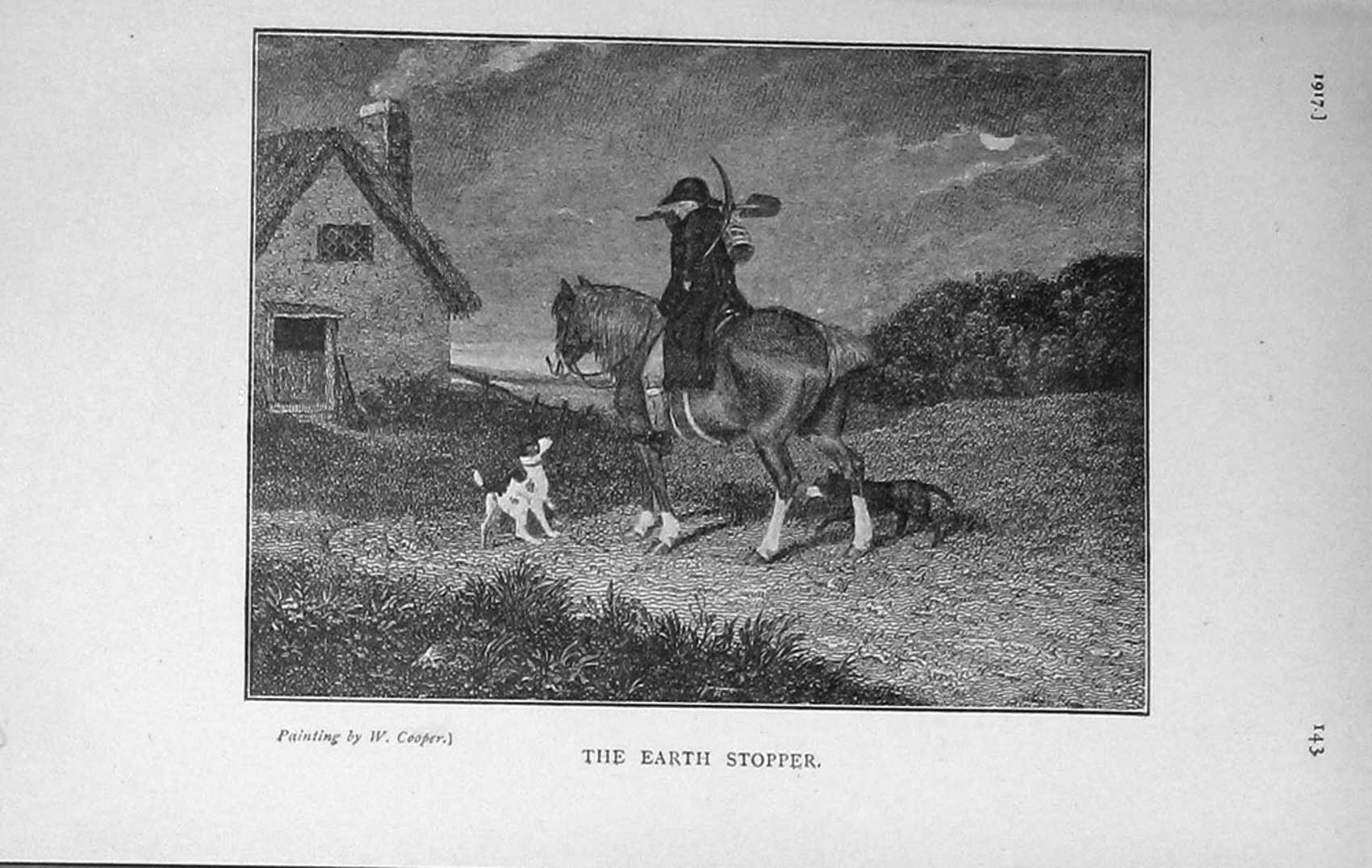 [Print 1917 Man Horse Dogs Country House Trees 968F125 Old Original]