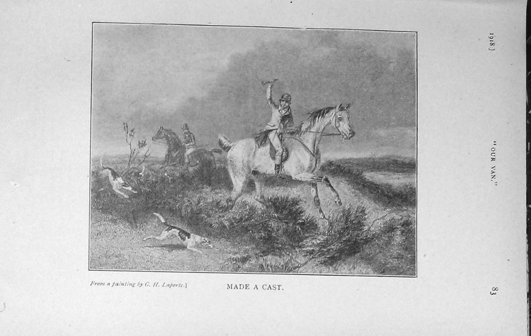 [Print 1918 Hunting Horses Hounds Dogs Country 002F126 Old Original]