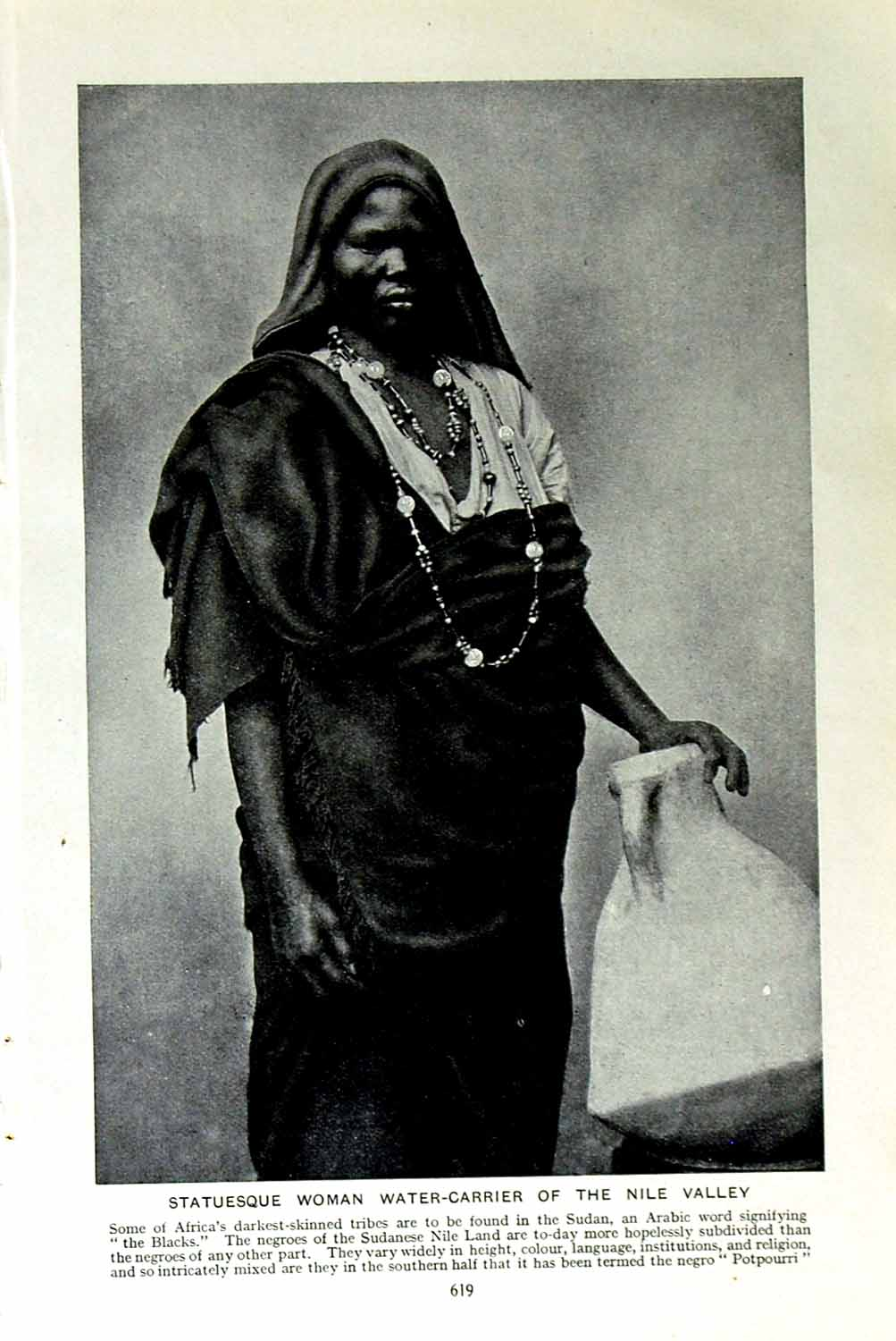 [Print C1920 Woman Water-Carrier Nile Africa Bisharin Tribes 619F151 Old Original]