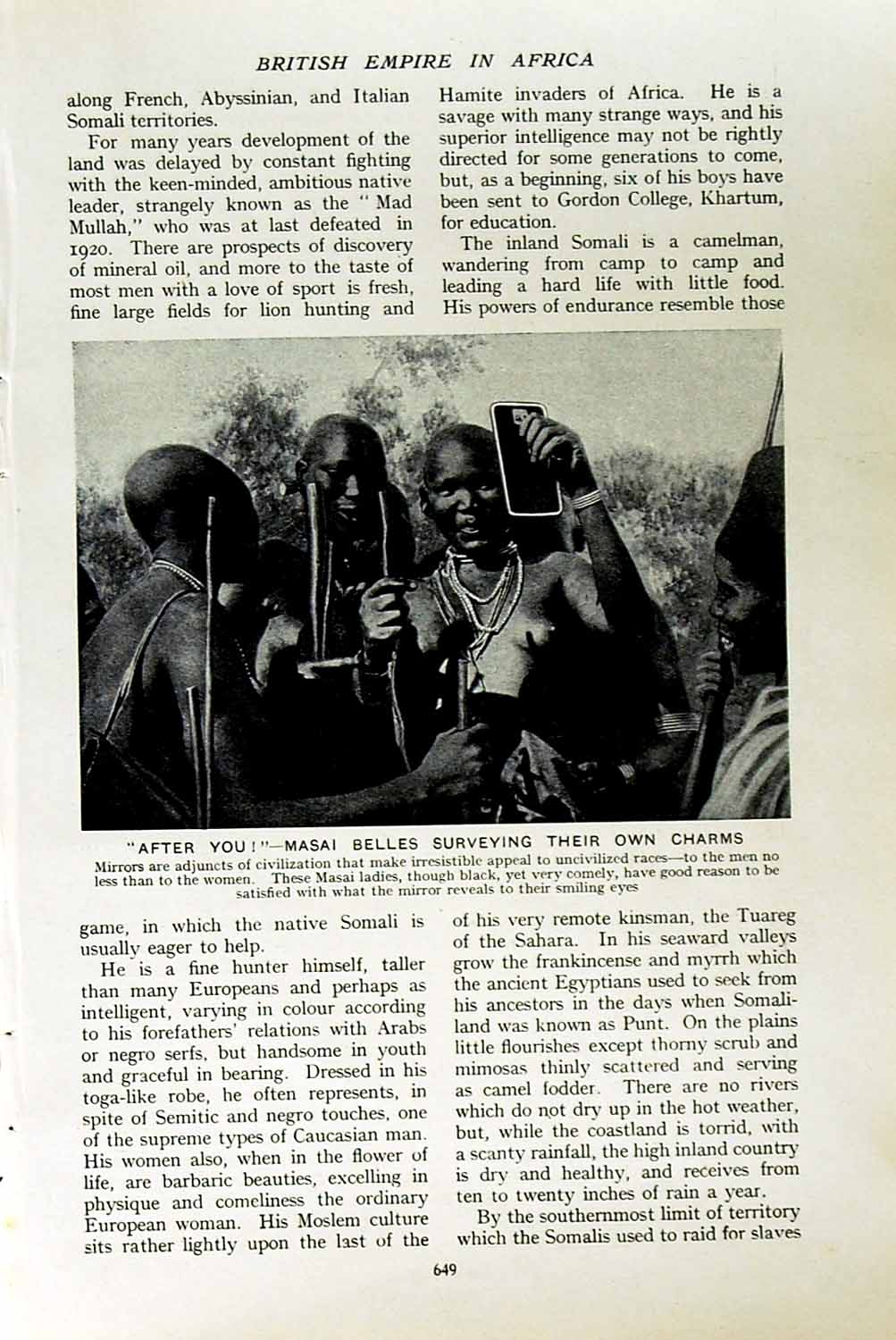 [Print C1920 Masai Women Ladies Africa Scions Men Warriors 649F151 Old Original]