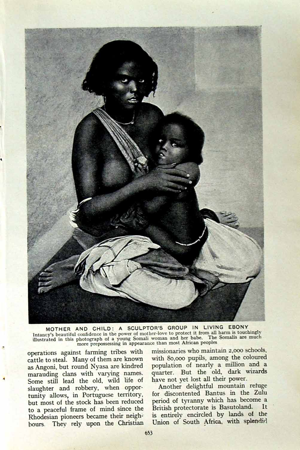 [Print C1920 Mother Child Somalis Africa Habr-Wal Zaila Tribe 653F151 Old Original]