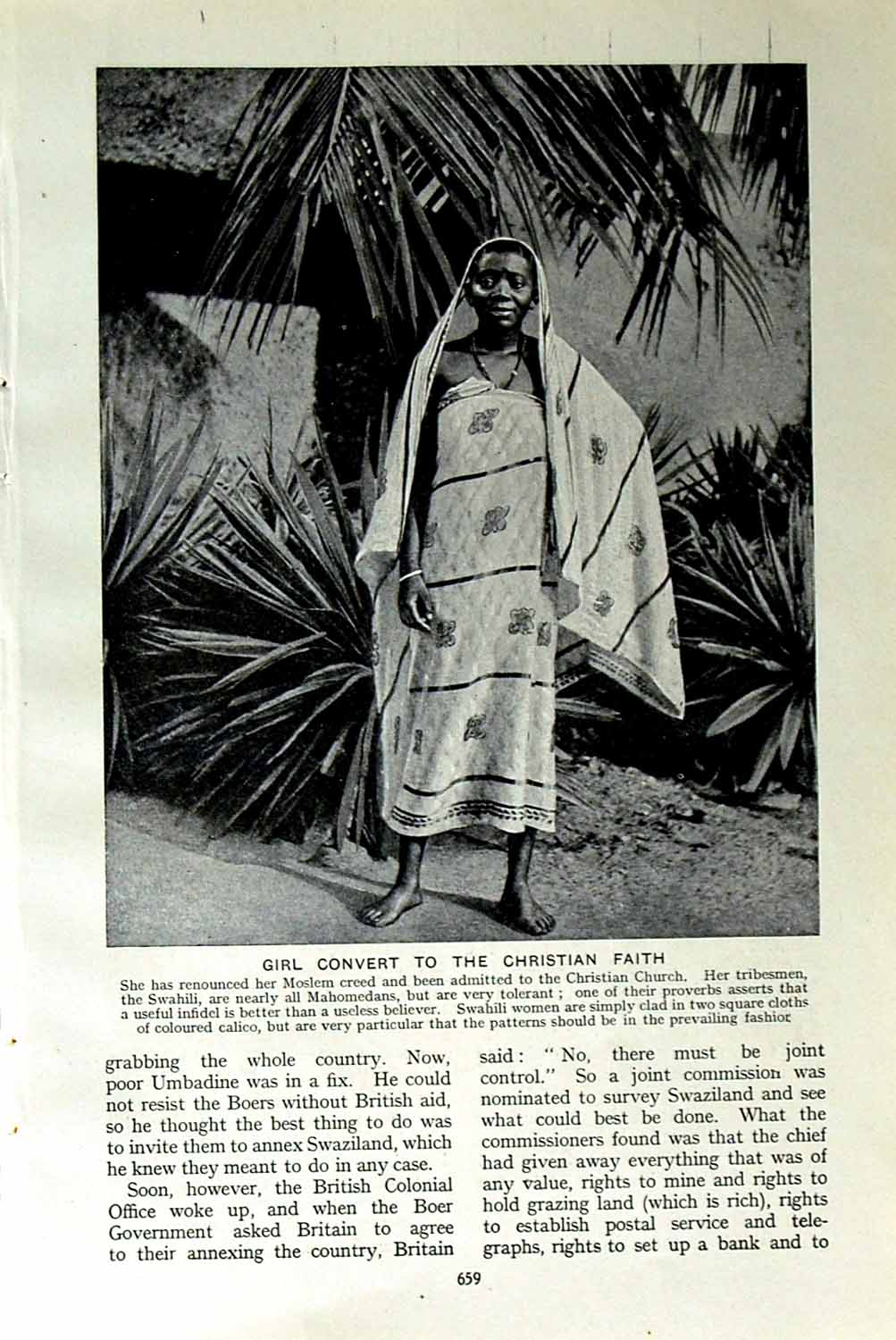 [Print C1920 Moslem Girl Christian Church Swahili Slave Africa 659F151 Old Original]