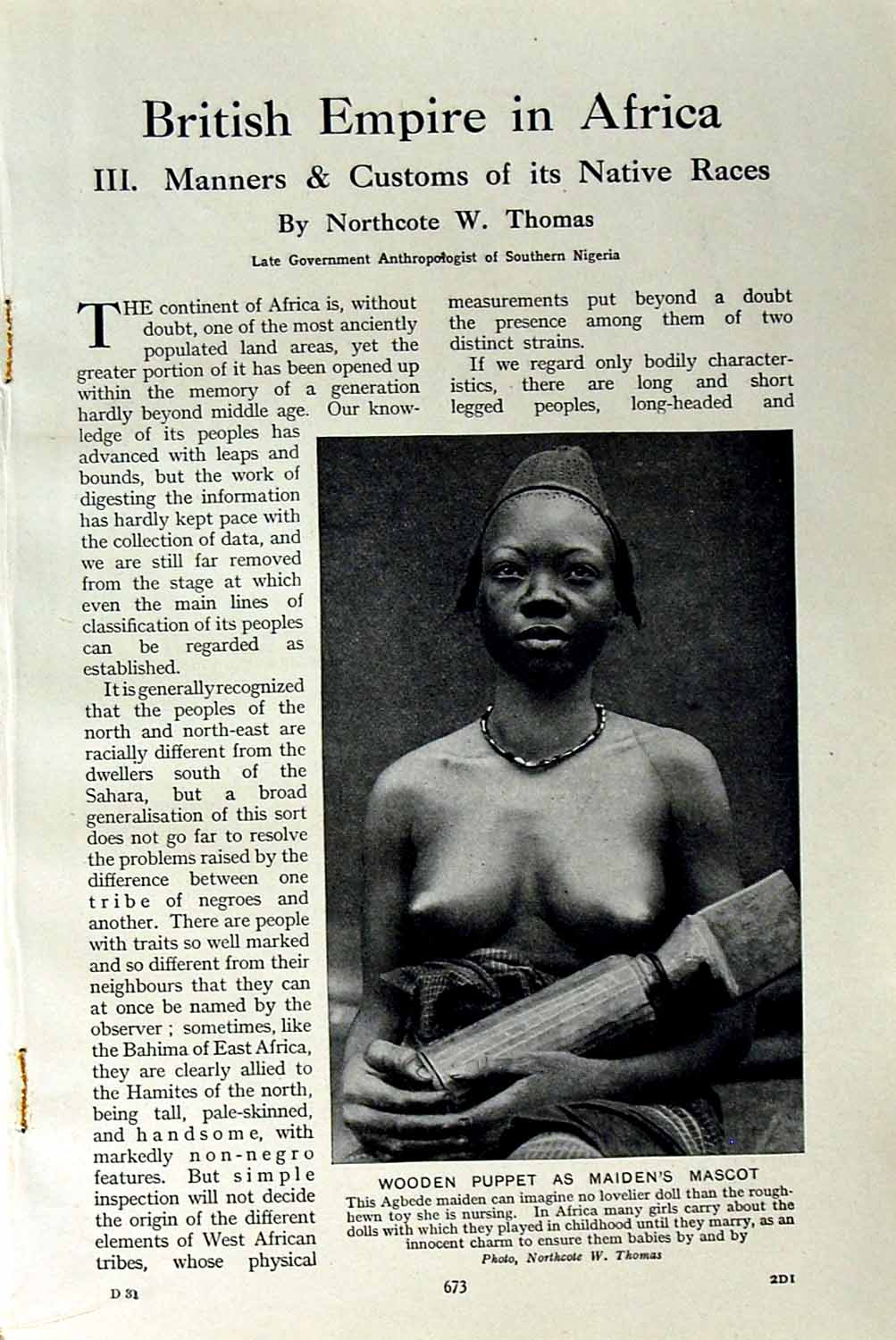 [Print C1920 Agbede Woman Wooden Puppet Africa Warri Mendi 673F151 Old Original]