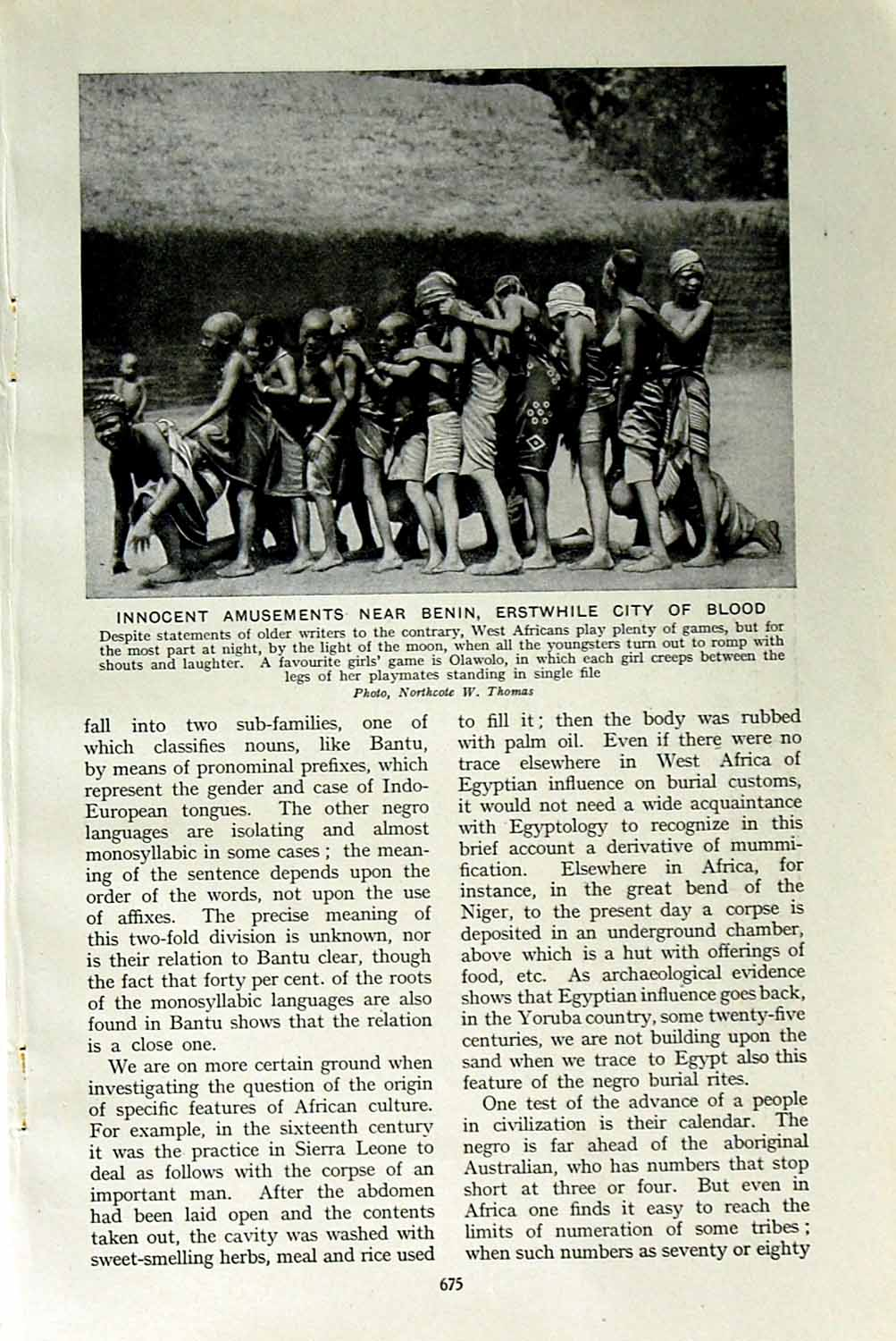 [Print C1920 Benin Erstwhile Africa City Blood Cercopithecus 675F151 Old Original]