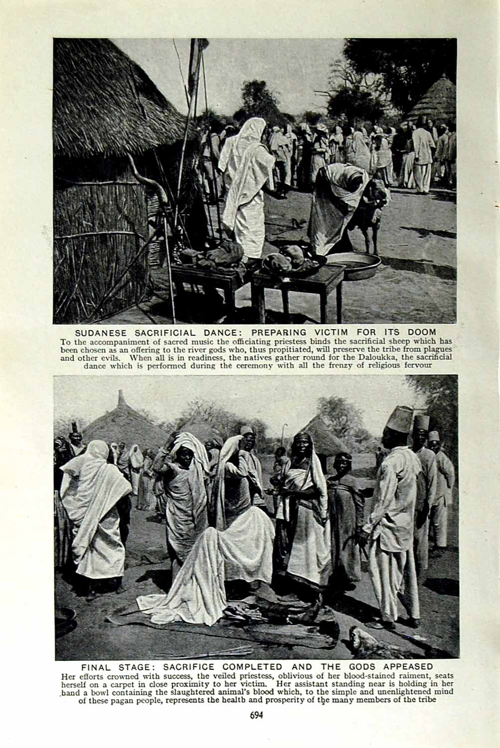 Print C1920 Sudanese Sacrificial Dance Sheep Daloukka Africa 694F151 Old Original