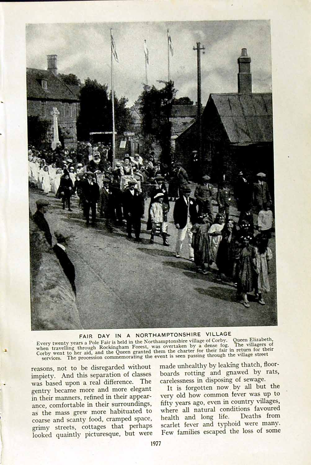 Print C1920 Pole Fair Corby England Village Thatcher Straw 977F153 Old Original