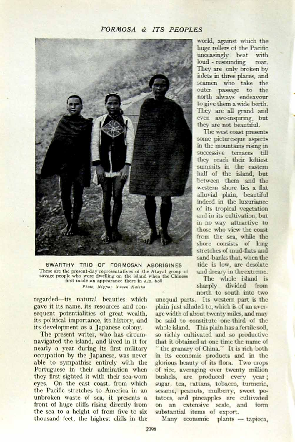 [Print C1920 Formosa Swarthy Trio Aborigines Atayal Savages 098F153 Old Original]