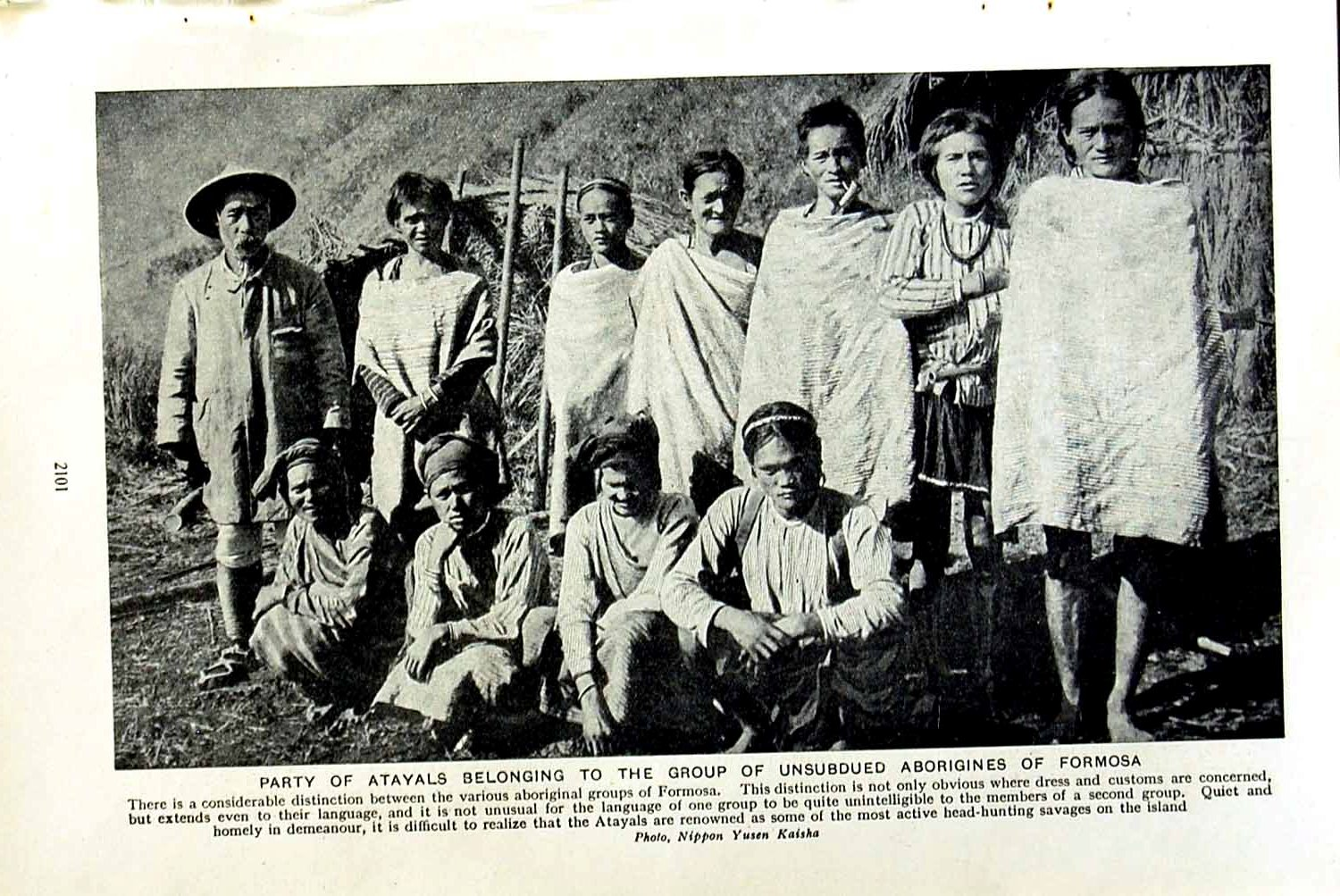 [Print C1920 Party Atayals Aborigines Formosa People Natives 101F153 Old Original]