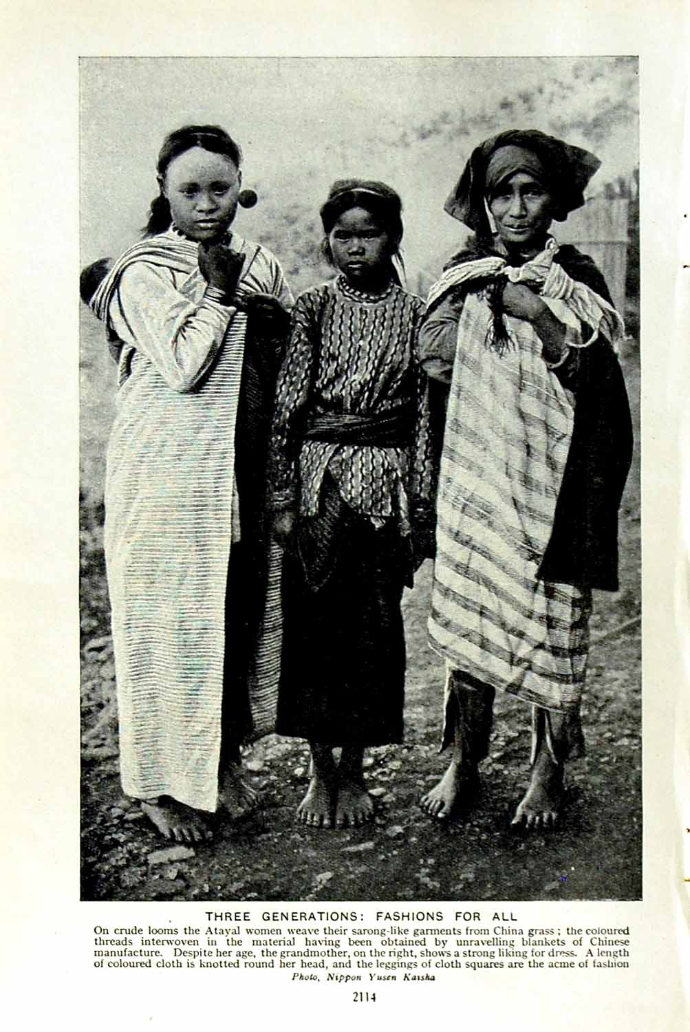 [Print C1920 Formosa Atayal Women Sarong Fashion Ladies 114F153 Old Original]