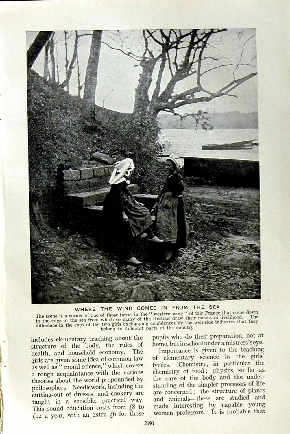 Print C1920 France Farm Bretons Women Trees Lake Boat 191F153 Old Original