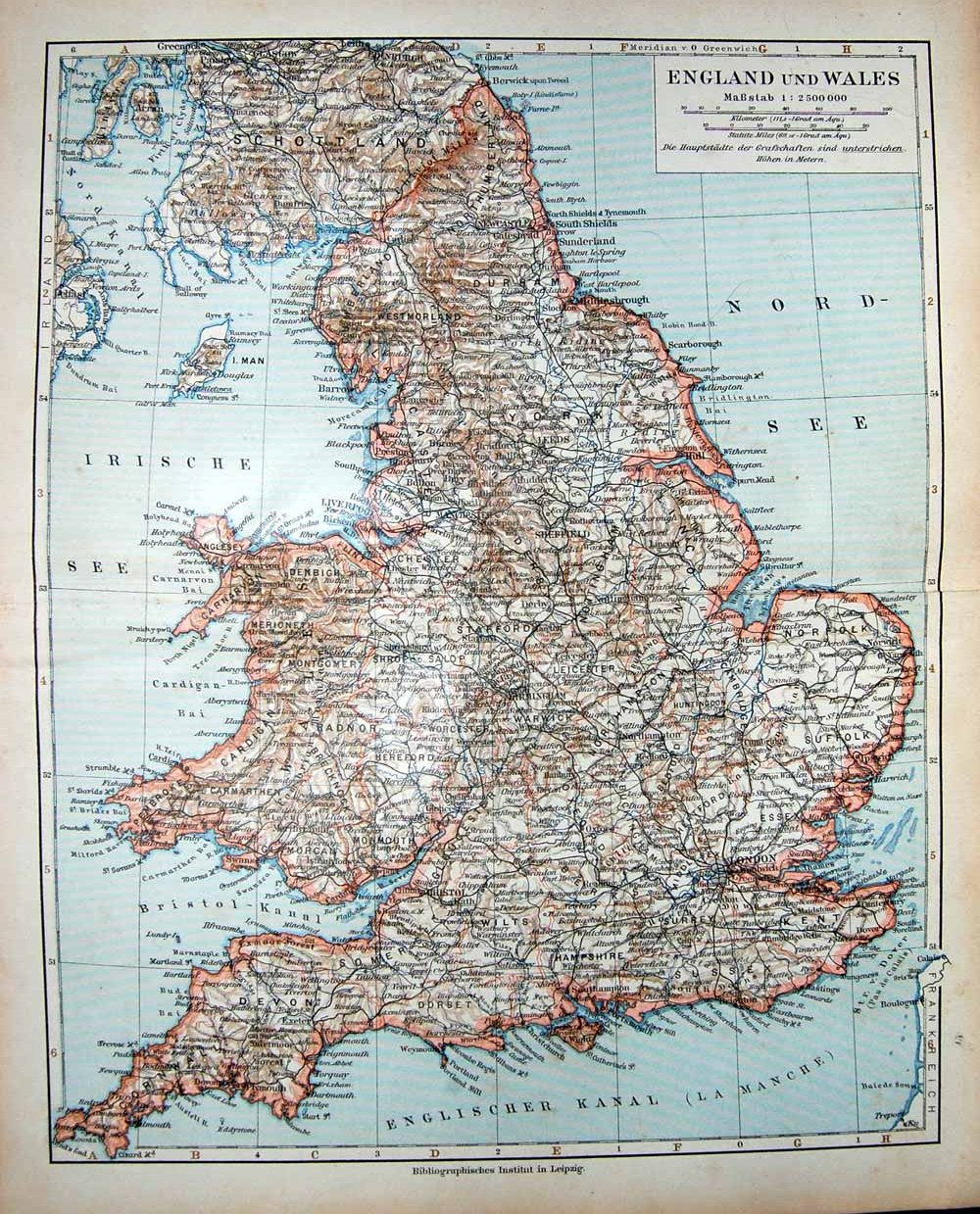 Old print antique and victorian art prints paintings world maps print meyers german atlas 1900 map england wales isle man 151f167 old original gumiabroncs Gallery
