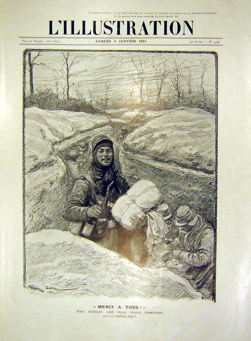 Print Sketch Merci A Tous Troops Trench Snow French 1915 02Lil0 Old Original