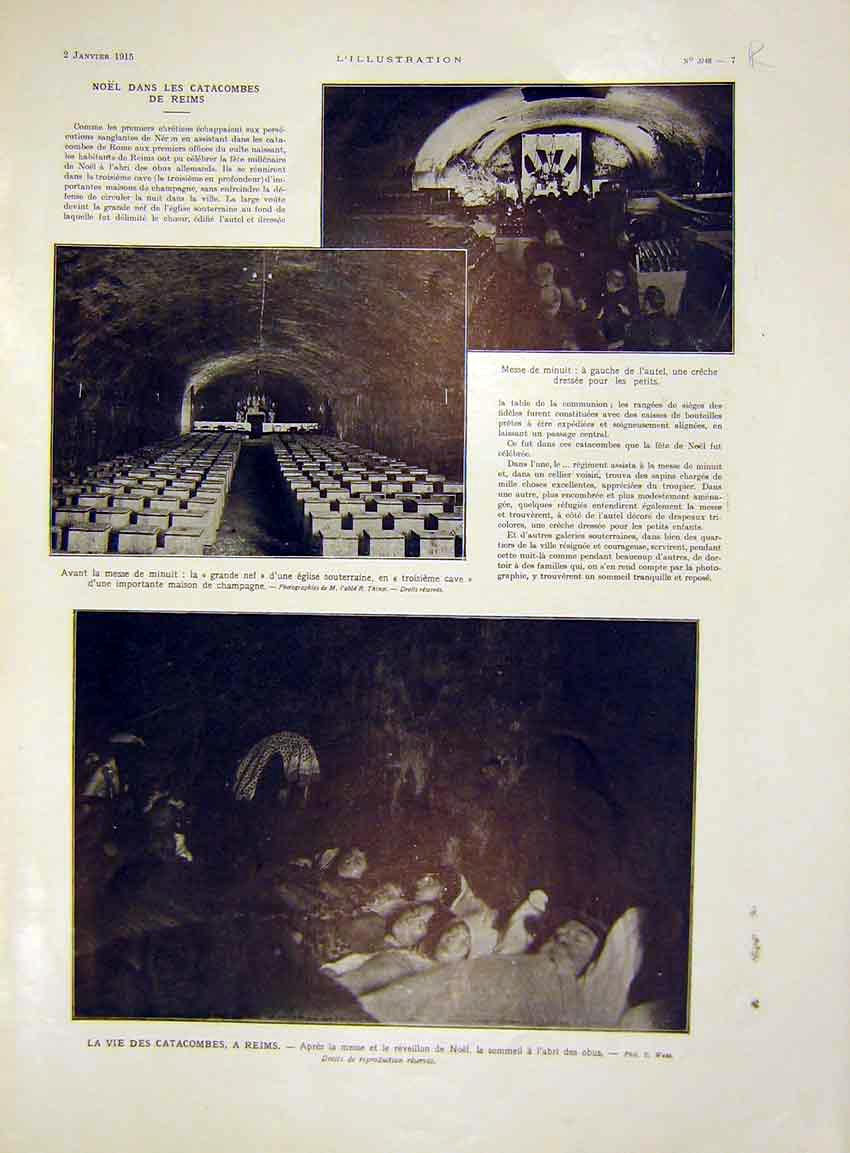 Print Catacombes Reims France Yser Nieuport French 1915 07Rlil0 Old Original