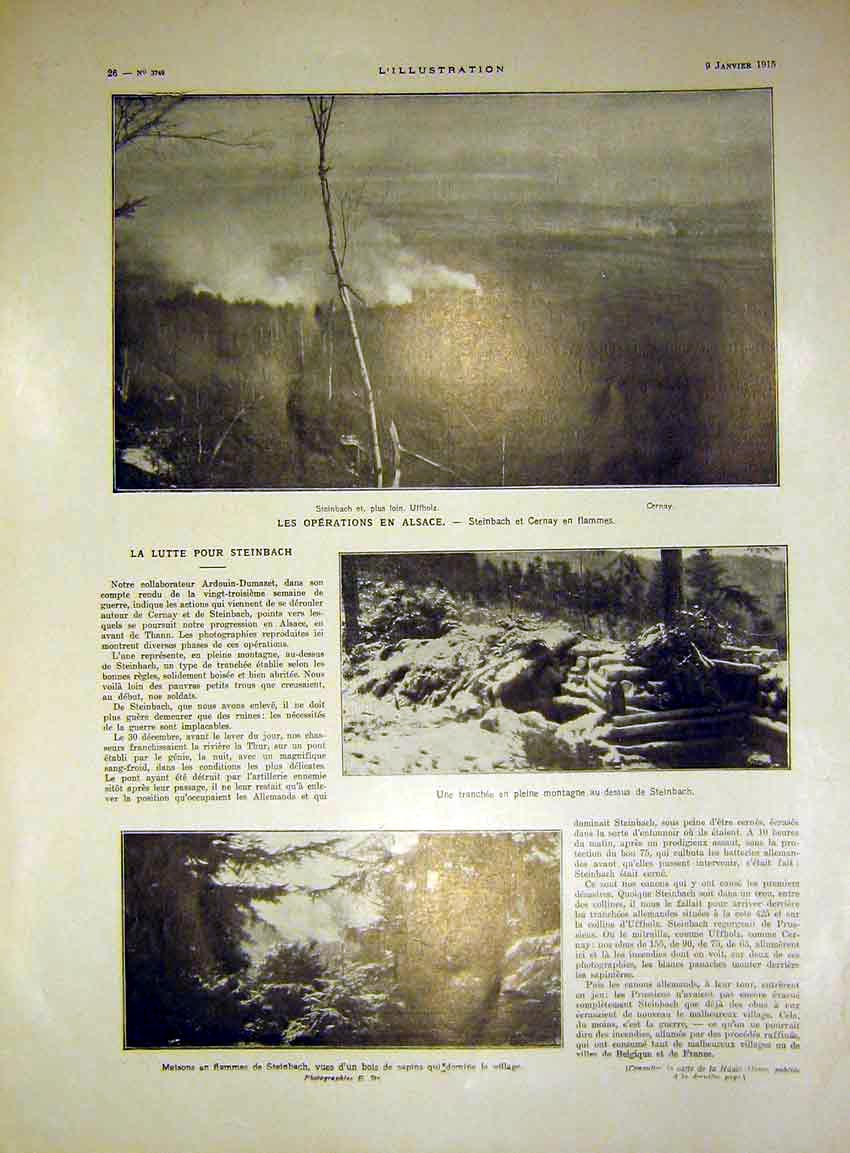 Print Troops Train Trench Hide Alsace Steinbach French 1915 26Lil0 Old Original