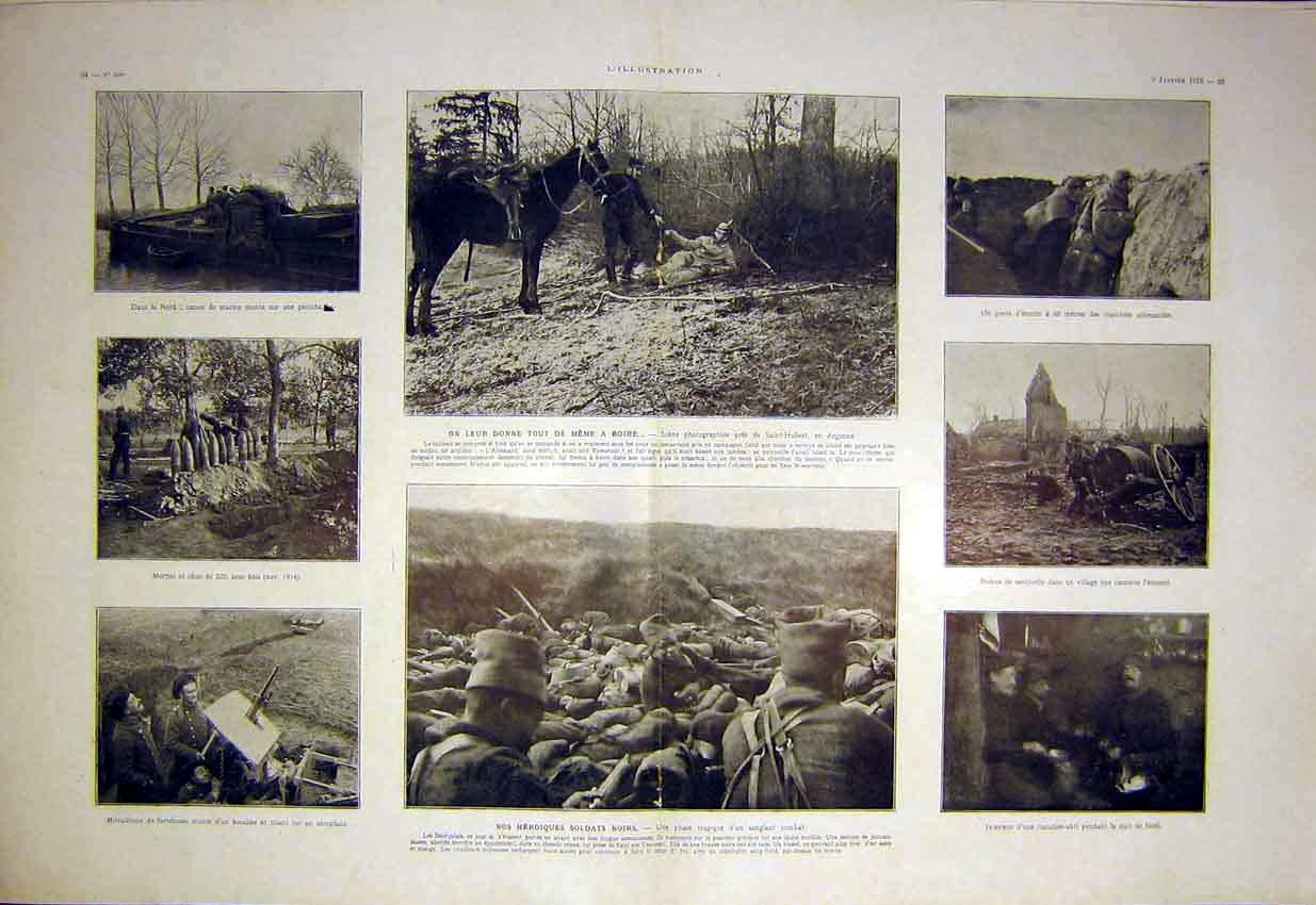 Print Soldiers Sengalese Military War Battle French 1915 33Tlil0 Old Original