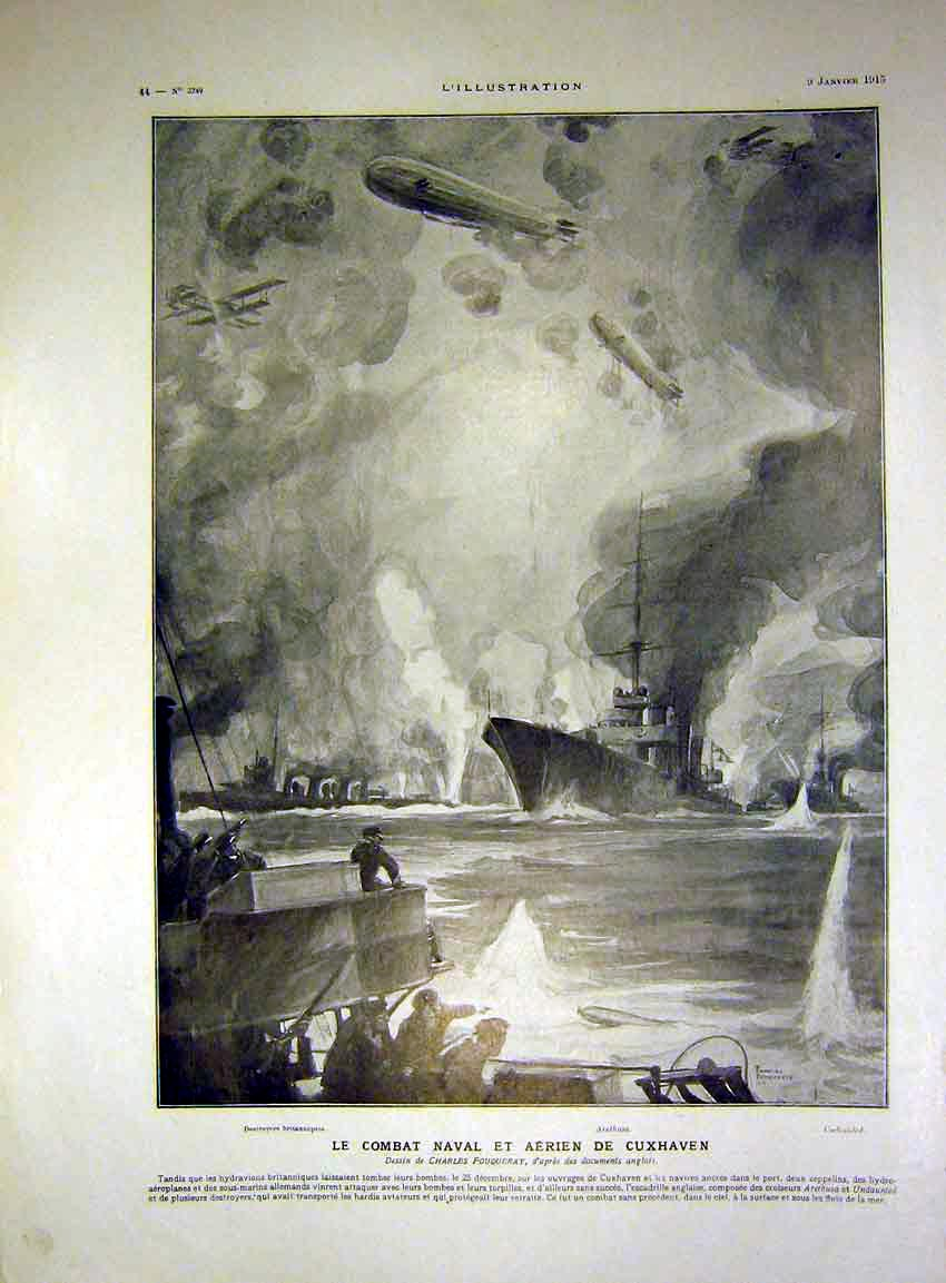 Print Naval Ship Battle English Channel Cuxhaven French 1915 44Lil0 Old Original