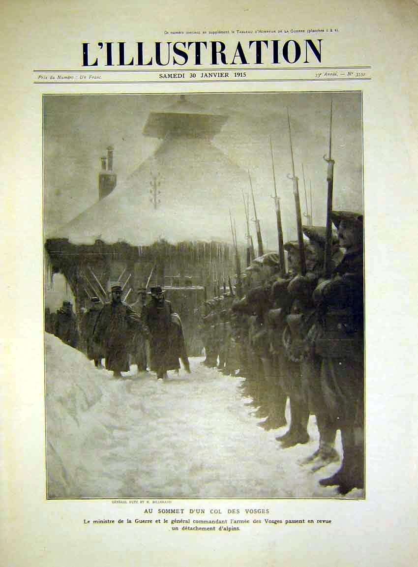 Print Troops Inspection Putz General Millerand French 1915 96Lil0 Old Original