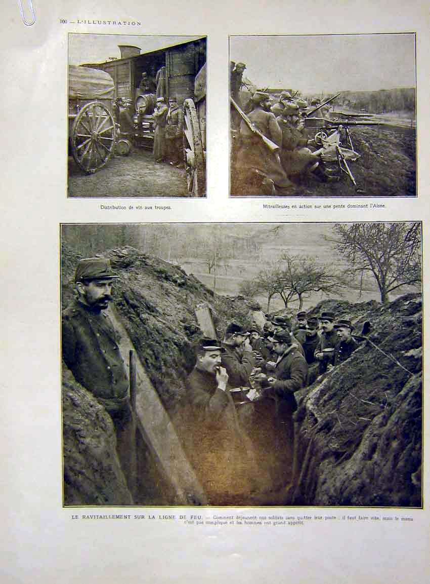 Print Military Trenches Aisne Soldiers Food French 1915 00Alil0 Old Original