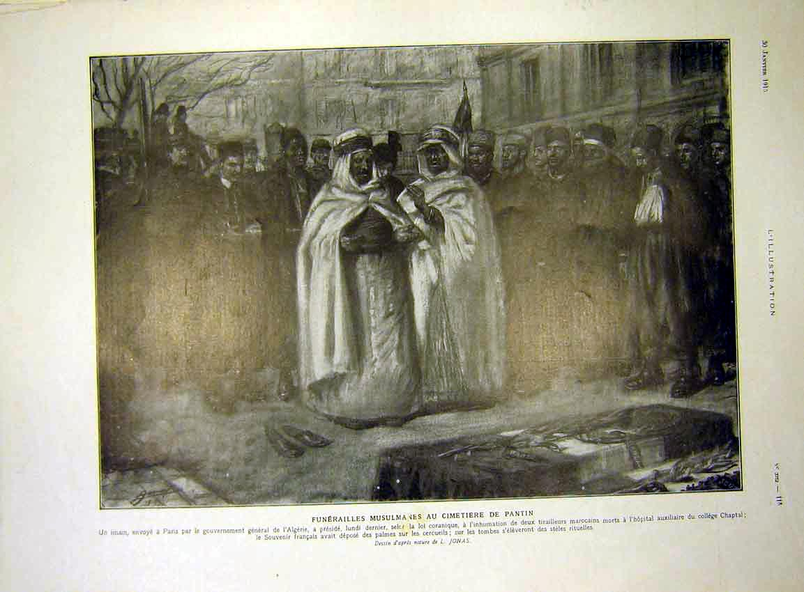 Print Funeral Arab Pantin Sketch L'Algerie French 1915 15Lil0 Old Original